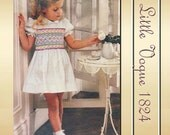 Little Vogue 1824 Girls Dress Pattern with Heavy Bodice Smocking Two Lengths Unused Factory Folds Size 2