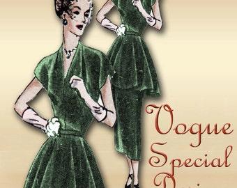 Vintage Tunic Dress Pattern 1940s Two Piece V Neckline Short Cap Sleeves Sheath Skirt Bust 32 Vogue 4841 Special Design