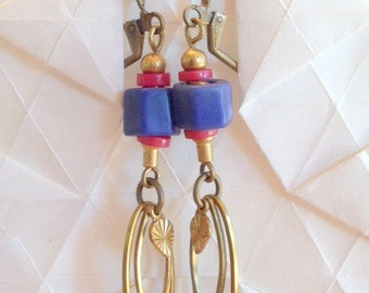 Blue and Pink Dangle Earrings - Blue and Pink African Glass and Brass Beaded Earrings with Brass Leverbacks