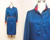 Vintage 1970s Navy Spade Print Dress / Red, White & Blue Popover Shirt Dress / Schrader Sport / Medium