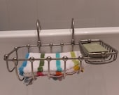 Antique French Double Section Chrome Bath Bathtub Soap Holder Dish With Adjustable Arm - Space Saving - Fashion Statement for your Bath