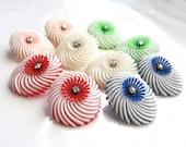 Soft Plastic Feathery Earrings ~ Vintage Germany Flower AB Rhinestone Clip Ons ~ Select from One of Each
