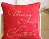 Merry Christmas | Pillow cover | Gold | Red | Burlap | Linen | Decorative Pillow