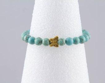 Blue Turquoise Magnesite Stretch Bracelet with Gold Butterfly (plated), Aqua Bead Bracelet, Semi Precious Gem Stone Jewelry, Stack Bracelet