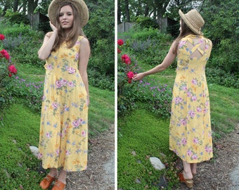 Vintage Rayon MAXI DRESS Ray of Sunshine Yellow & Pink Rose Bouquet Print SUNDRESS Button Up back cutOuts Woman Small Floral Festival Frock