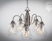 Edison Bulb Chandelier - Pear - Dining Room - Brushed Nickel - Oil Rubbed Bronze - Light Fixture - Kitchen