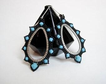 Statement Earrings, ColorBlock Earrings, Swarovski Crystal, silver plated, nickel free earrings, matte black earrings, sky blue