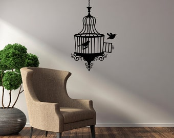 Opened Birdcage with Two Birds Vinyl Wall Decal for living room, nursery, kitchen, bedroom + more K630