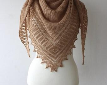 Hand knitted alpaca shawl,  camel beige hand made alpaca shawl, triangular shawl, warm and soft