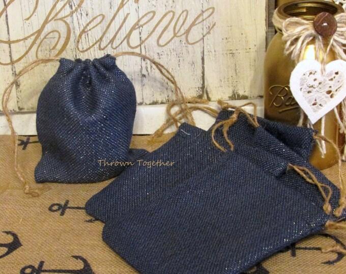 Burlap Gift Bags, Navy Blue & Gold Sparkle Burlap Bags, Wedding Favors, Rustic Favor Bags, Burlap Christmas Bags, 5 Handmade Rustic Gift Bag