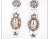 Silver boudoir - Extra-long silver, grey and blue earrings with chandelier glass cabochons, bead embroidered earrings