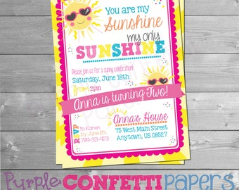 You are my Sunshine Birthday Invitation, Sunshine, Sunny, Sun, First Birthday, Baby Birthday, Sunny Day, Garden Party,