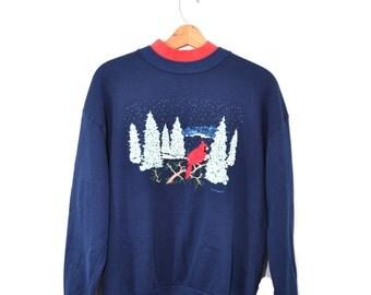 Vintage Sweatshirt Red Bird Sweatshirt Christmas Sweatshirt Christmas Sweatshirt Ugly Christmas Sweater Ugly Christmas Sweatshirt