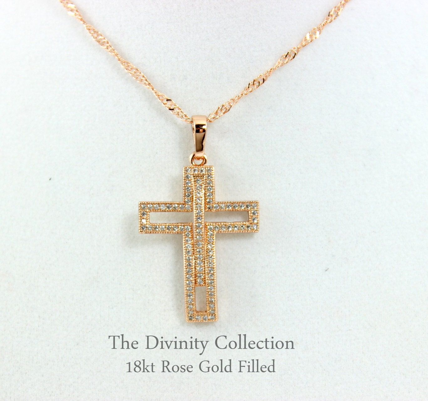 cross necklace women rose gold filled pave crystal large. Black Bedroom Furniture Sets. Home Design Ideas