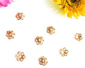 NEW! Rose Gold Vermeil Daisy Bead Caps 5.5 mm 10 pcs Simple and Sweet Petite Bead Caps CA113r