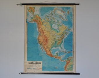 Vintage Pull Down School Chart. North America. USA. Canada. Mid Century.  Pull down map. Austrian. 1159