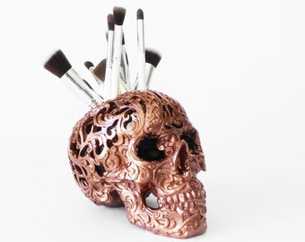 Carved Tribal Skull, Skull, Makeup Assessories, Painted Skull, Carved Human Skull, Skulls, Makeup Brush Holder, Gold Skull, Tribal Skull,