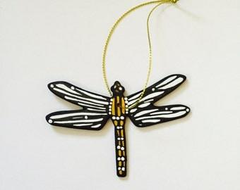 "Dragonfly Ornament - Christmas Tree Decor - 3"" Original Handmade, Signed White Dragonfly Wood Flat Ornament. Dragonfly Gift, Original Art."