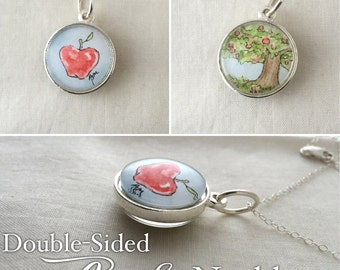 Double-Sided Apple  - Wearable Artwork Necklace - Original Watercolor Painting - One of a Kind - Sterling Silver