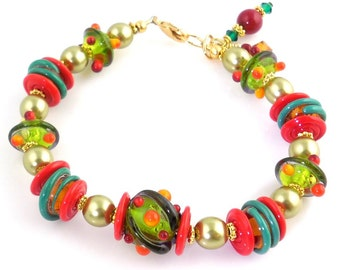 Fiesta Colors Beaded Lampwork Bracelet, Lampwork Jewelry, Glass Beads Bracelet, Gifts, Fashion Jewelry