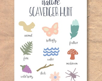 Instant Download Printable Nature Walk Scavenger Hunt