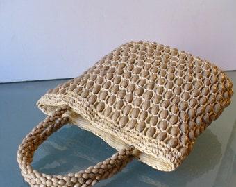 Vintage Delill Raffia & Lucite Bead Handbag Made in Italy