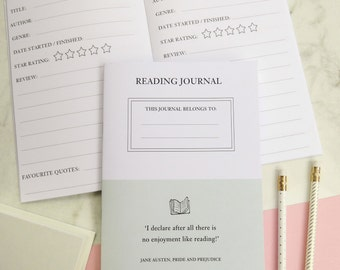 Reading Journal - Notebook - Stationery for Book Lovers - Book Review - Diary - Book Worm - Jane Austen