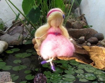 Pink Doll,Wool Fairy,Needle Felted Doll,Waldorf Doll,Pink Fairy,Miniature Fairies,Baby Fairies,Fiber Art