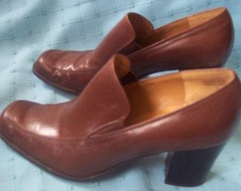 "Etienne Aigner VTG leather shoes loafers 3"" heel wood 1980's brown Sterling 8.5"