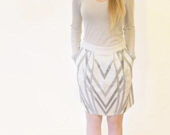 Sale, white skirt, Women's summer skirt, Skirt with pockets, Cotton skirt, Above the knee skirt, Office skirt, Back zip