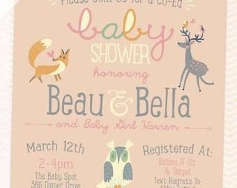 Woodland, Forest Animals Baby Shower Invitation, 5x7