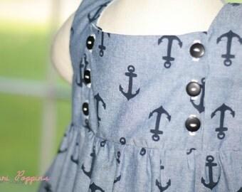 Anchor Tunic for Girls, Summer top, Beach wear for girls, Nautical tunic RTS 5t