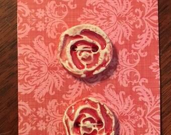 Handmade Ceramic Rosebud  Buttons ( Set Of 2 )
