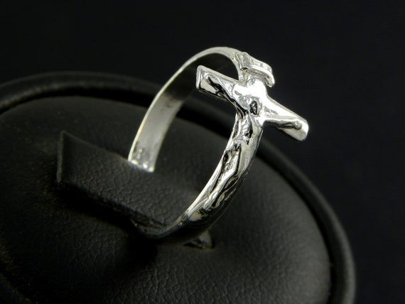 Ring Crucifix Jesus In Sterling Silver Made In Italy