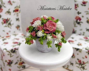 Miniature Dollhouse Roses And Asters In The White Ceramic Flowerpot