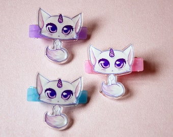 cute unicorn cat hair clips - pastel anime manga kitty hairclip - kawaii plastic fairy kei pastel goth grunge aesthetic 90's accessory
