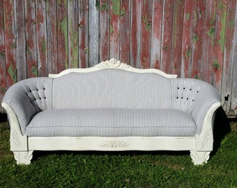 SOLD - Fabulous Feather Ticking Sofa Couch Loveseat