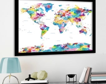 Large Political World Map with USA state borders and labels. Pastel Watercolor Map, Huge World Map. Country and US borders, major Cities.