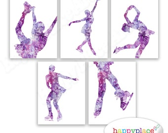 Purple Wall art for Ice skater. Personalised ice skating gift.  Posters as art prints or printable files. Lavender decor for girls bedroom.