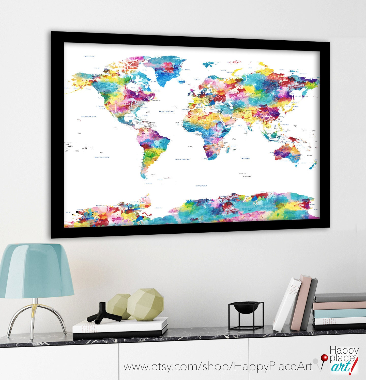 Large Political World Map With USA State Borders And Labels - Huge us map