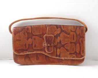 Vintage 70s Snakeskin clutch, 80s snakeskin purse, Reptile Clutch, Python clutch, Brown Reptile Purse, 70s Brown Leather Clutch
