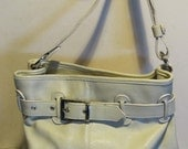 XL gorgeous vintage Italian leather tote bag, boho, creamy white leather! near mint!