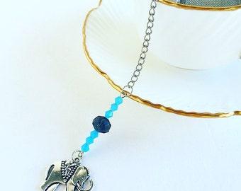 Tea Infuser Elephant ~ Forget Me Not~ Blue Beads ~ Tea Ball