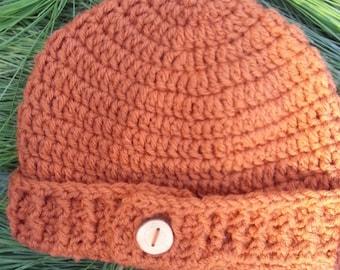 Crochet Rusty Orange Beanie