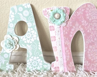 Custom Nursery Letters, Coral and Mint Nursery Decor, Wall Letters, Wooden Letters, Personalized- wall hanging-The Rugged Pearl
