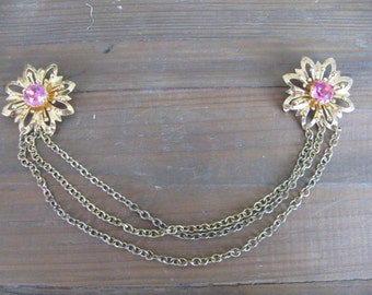 Vintage Costume Collar Sweater Clip - Pink and Gold