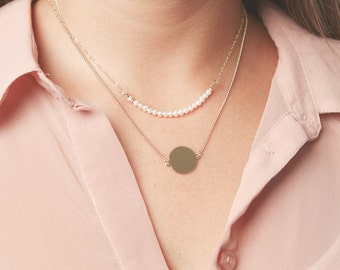 Delicate Layered Necklaces Set Pearl And Disc Necklace Personalized  Dainty Gold Filled Or Silver Set Of Two Necklaces.