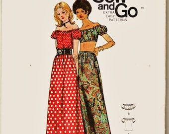 Flirty 70's Extra Easy Butterick Pattern 6242 Off-Shoulder Midriff Top & Maxi Skirt Sz Med Uncut FF Boho Hippie Era Sewing Patterns Supply