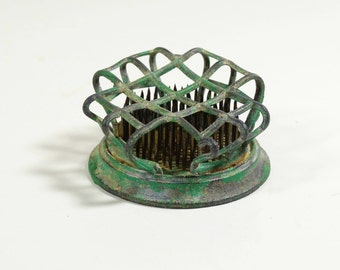 Antique Flower Frog - Metal Grid with Spikes