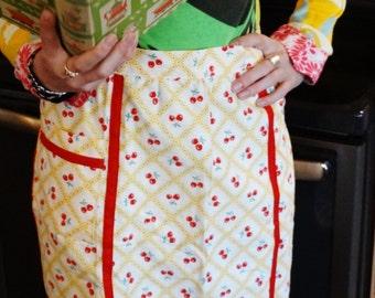 Vintage Hostess Apron - Cherries - Half Apron
